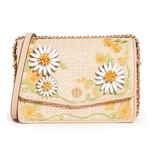 Tory Burch Robinson Embroidered Straw Shoulder Bag